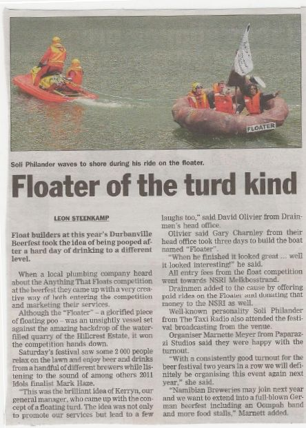 """Tygerberger Article on the """"Anything That Floats"""" Competition"""