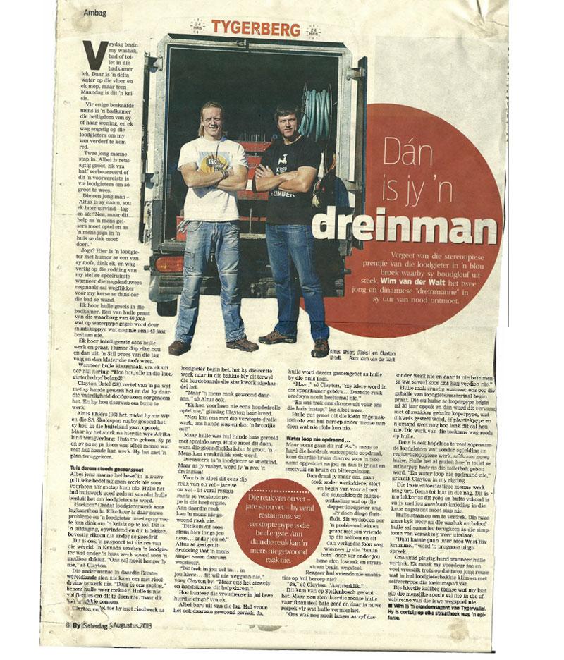Drainmen News Paper Article